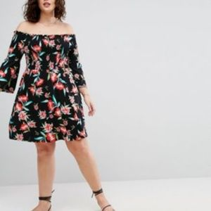 ASOS CURVE Bardot Mini Dress With Trumpet Sleeves